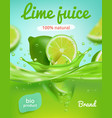 lime juice poster ads placard with fresh fruits vector image vector image