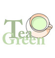 logo cup of green tea with the inscription vector image vector image