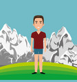 man in the landscape character vector image