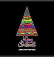 merry christmas card with creative christmas tree vector image vector image