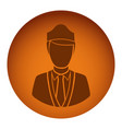 orange emblem guard person icon vector image vector image