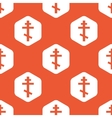 Orange hexagon orthodox cross pattern vector image vector image