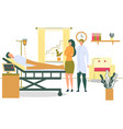 patient on hospital bed with dropper woman visit vector image