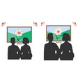 people silhouettes in front of picture frames in vector image