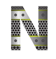 perforated metal letter N vector image vector image