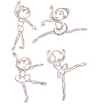 Plain sketches of the ballet dancers vector image vector image