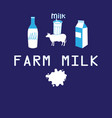 poster farmer milk cow vector image vector image