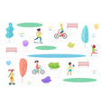 public park with walking riding and playing kids vector image