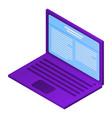 purple laptop icon isometric style vector image vector image