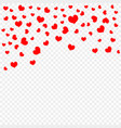red falling heart petals isolated background vector image vector image