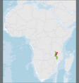republic malawi location on africa map vector image
