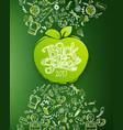 school doodles chalkboard with apple vector image vector image