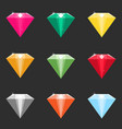 set cartoon diamonds crystals in different vector image