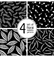 set of 4 black floral seamless patterns vector image vector image