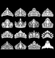 set silhouettes ancient crowns tiaras tiara vector image