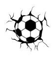 soccer ball stuck on a wall icon vector image