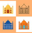 taj mahal icon set in flat and line styles vector image