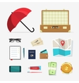 Travel things icons baggage items to vector image