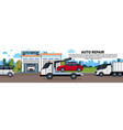 truck towing car to auto repait garage horizontal vector image vector image