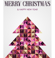 Vintage mosaic Christmas pine tree vector image vector image