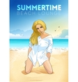 Retro poster with a girl sitting on the beach vector image