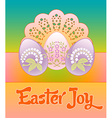 three pastel decorated floral eggs on a lacy vector image