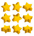 3d yellow stars with shadow vector image vector image