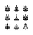 asian cities and counties landmarks icons set 1 vector image