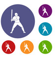 baseball player with bat icons set vector image vector image