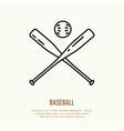 Baseball softball line icon Bats and ball vector image