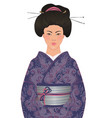beautiful japanese woman in kimono traditional vector image