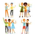 best friends friendly hugging vector image