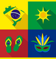 brazil sun slippers mask summer time cartoon vector image vector image