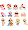 cartoon babies in different expressions vector image vector image