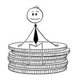 cartoon of businessman sitting on small stack of vector image vector image