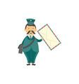 cartoon postman mailman character letter vector image vector image