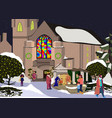 christian church in new year winter landscape of vector image