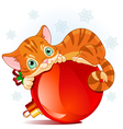 Christmas kitten vector image vector image