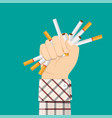 cigarettes in fist hand giving up smoking vector image vector image