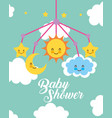 crib mobile toy clouds baby shower card vector image