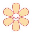 cute flower sad kawaii cartoon vector image vector image