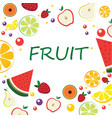 frame with sliced fruit exotic fruits in cartoon vector image vector image
