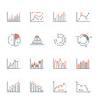 graphs and charts icons set vector image vector image