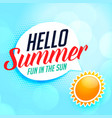 hello summer background with sun vector image vector image