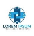 human cross medical and health logo design vector image vector image