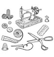 ink hand drawn style sewing kit vector image