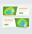 insurance banners set protection of property and vector image vector image