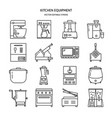 kitchen equipment icon set in line style vector image vector image
