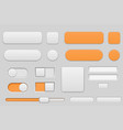 light grey and orange interface buttons vector image vector image