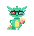 Little Anime Style Baby Dragon In Movie Theatre In vector image vector image